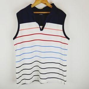 Croft & Barrow rainbow stripe sleeveless polo top